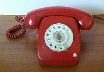 Vintage Retro Red Telecom Rotary Dial Telephone Fully Operational