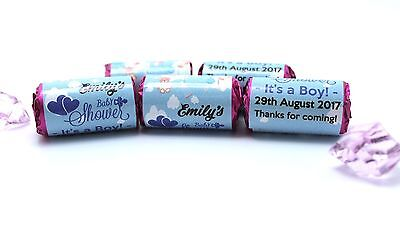 x35 Personalised Baby Shower Love Hearts Party Favours Its a Boy Keepsake #B2