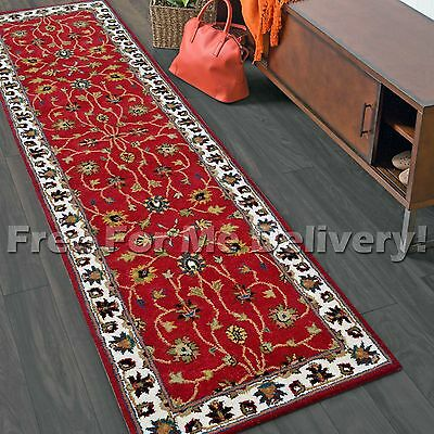 ROSE RED THICK WOOL TRADITIONAL FLOOR RUG RUNNER 80x300cm **FREE DELIVERY**