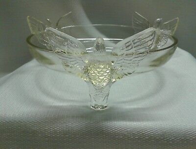 """Vintage Art Deco Clear Glass Eagle Bird Footed Serving Bowl Dish Candy Dish 7"""""""