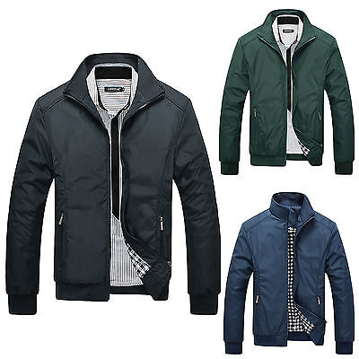 Mens Long Sleeve Slim Zipper Bomber Biker Jacket Coat Autumn Winter Outwear Tops