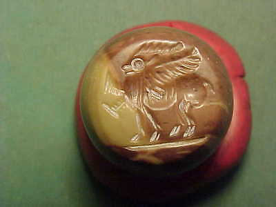 Sassanian  dome seal of stone. (winged stag) circa 224-642 AD