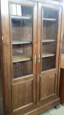 Beautiful French 19Thc Glass Door French Antique Bookcase With Key From Honfleur