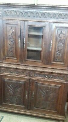 Beautiful 19Thc Antique Handcarved French Sideboard Dresser Cupboard With Key