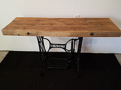 Singer Sewing Machine Table/Desk with Reclaimed Barnwood Top Industrial Rustic