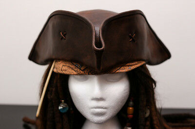 JACK SPARROW LEATHER TRICORN HAT PIRATE by ACME *Free Shipping*