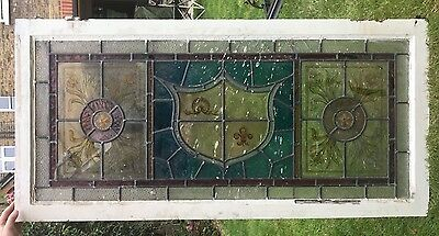 Victorian stained glass fanlight panel 61cm x 126cm