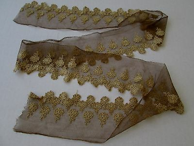 Vintage Embroidered French Net Lace Trim Scalloped Edge..antique Dolls/hats