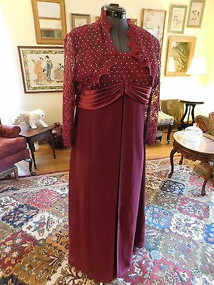 Beautiful Plus Size Cranberry 2-Piece Formal Mother Of The Bride Chiffon Sz 2Xl