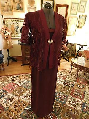 Beautiful Mother Of The Bride 2-Piece Gown Eggplant Color Charmese-Lace  Size 6