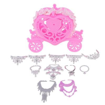 6 Jewelry Necklaces + 5 Crowns + Handmade Gift Car Accessory for Barbie Doll