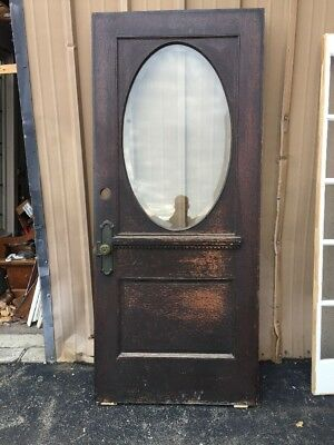 Cm 205 Antique Quartersawn Oak Beveled Glass Entrance Door 36 X 84