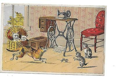 Singer Sewing Machine Victorian Trade Card Cats And Mouse New Brighton Pa.
