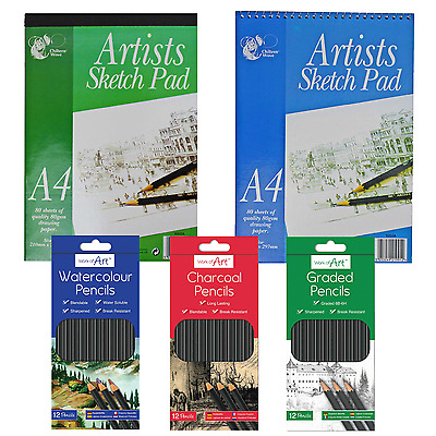 A4 Art Sketch Pad Spiral/Tape Bound | Graded/Water Colour/Charcoal Art Pencils