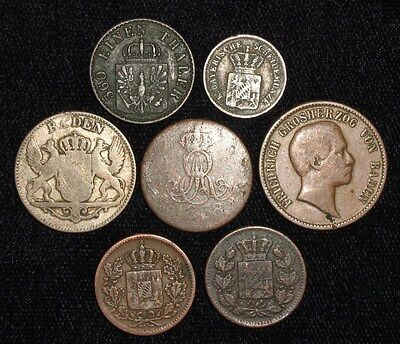 7 Coins from Germany 1838-1869.   No Reserve!!