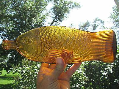 Nice Color Dr FISCH'S Bitters FISH FIGURAL Light YELLOW Amber, BEAUTIFUL Bottle