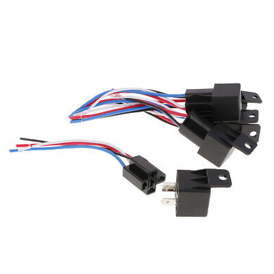 5 Set of 12V SPDT 4 Pin Car Boat Relay with 4 Wires & Harness Socket 40 Amp