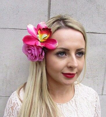 Large Hot Pink Rose Orchid Flower Hair Clip Fascinator Rockabilly Lily 50s 3595