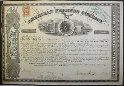 Wells Fargo Signed 1865 American Express Authentic Capital Stock Certificate