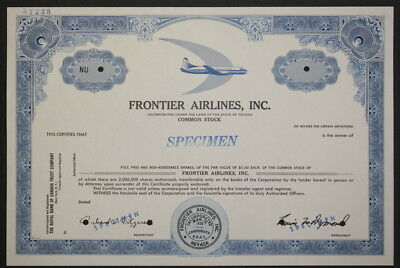Frontier Airlines Common Stock Specimen Certificate - Authentic Aviation History