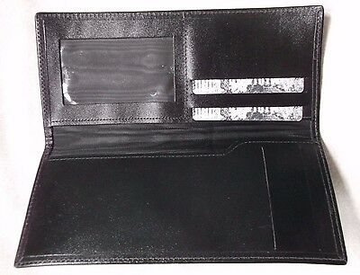 VINTAGE REAL LEATHER BLACK BI-FOLD WALLET 1980s 1990s CHEQUE BOOK CARDS ID NOTES