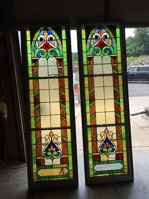Lilly 28  2 Available Price Separate Antique Stainglass Window 24.5 X 80.5