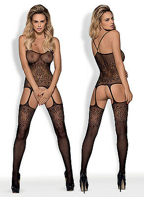 OBSESSIVE F218 Luxury Super Soft Patterned Fishnet Bodystocking