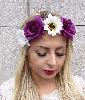 Lavender Purple Flower Headband Hair Crown Garland Bridal Festival Boho 6082