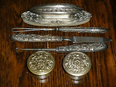 Antique Victorian French Style 8 Piece Nail Buffer Manicure Vanity Set