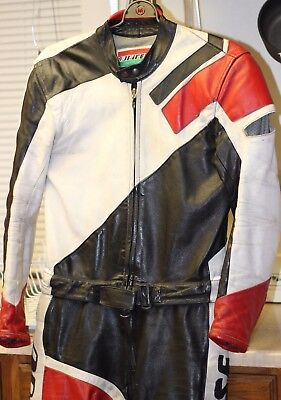 DAINESE Vintage Racing Leathers Motorcycle Biker Track 2 pc Suit - Size 48 Mens