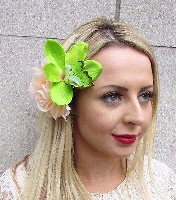 Double Green Peach Rose Orchid Flower Hair Clip Fascinator Rockabilly 1950s 3604
