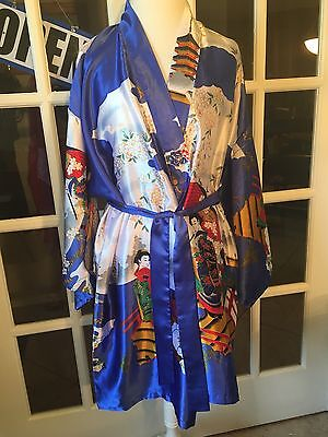 Chun Xiao Meng Silk Kimono Robe Women's Geisha Floral Traditional Asian Robe