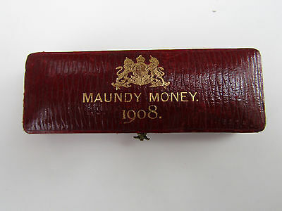1908  King Edward VII    MAUNDY SET    Unc    in ORIGINAL Dated Case 4d to 1d