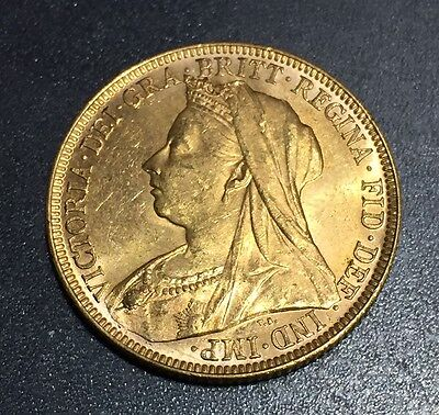 1897 M Gold Sovereign Melbourne mint KM# 13 Victoria St. George