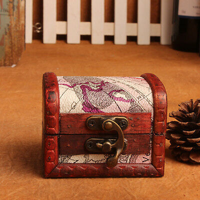 Wooden Colonial Style Trunk Treasure Chest Vintage Jewellery Storage Box