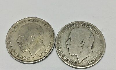 one florin 1921, george v, great britain silver coin- Lot Of 2 Coins