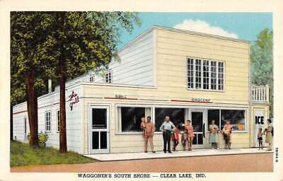 Clear Lake Indiana Waggoners South Shore Street View Antique Postcard K69027
