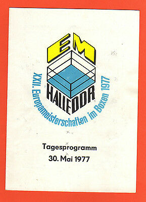 Orig.Day PRG    Boxing European Championships HALLE (GDR) 1977  !!  VERY RARE