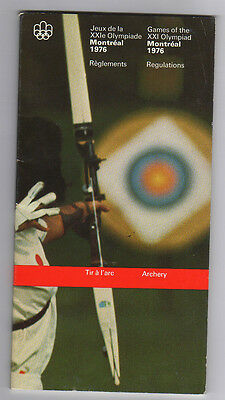 Orig.Guide / Regulations    Olympic Games MONTREAL 1976  -  ARCHERY  !!   RARE