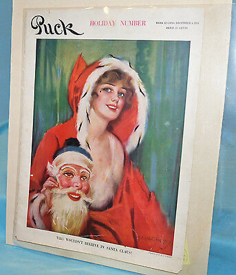 Antique~PUCK 1915~SANTA XMAS MASK Magazine Cover~E Christy~MURAD Cigarette Ad