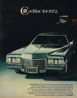 1972 CADILLAC SEDAN DE VILLE/ELDORADO COUPE 2pg LOT LAMINATED AD ART