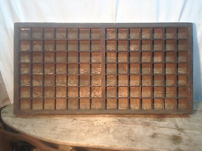 "Vintage Large Wood Printers Tray Type Case!  32"" x 16.5"" With 98 Sections!"