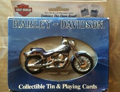 Collectible Bicycle Brand Harley Davidson Springer Softail Tin & Playing Cards