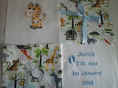 "PERSONALISED EMBROIDERED BABY CUSHION ""ANIMALS"" Design"