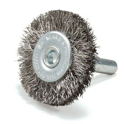 """1.5"""" Crimped Wire Brush Stainless Steel with 1/4"""" Shank For Die Grinder or Drill"""