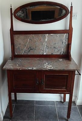 Antique Edwardian Marble Topped Wash Stand / Vanity Unit