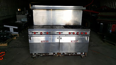 "72"" Vulcan Commercial Kitchen Gas Range Flat Top + 4 Stove Burners Double Ovens"