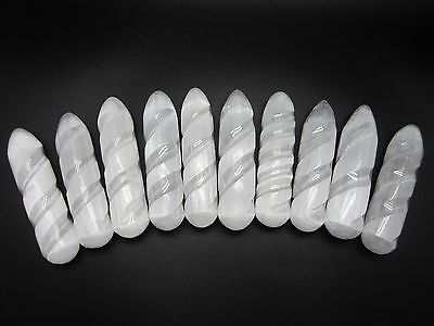 """SELENITE WAND 4"""" (in.) Lot of 10 Polished Satin Spar Morocco 847g"""