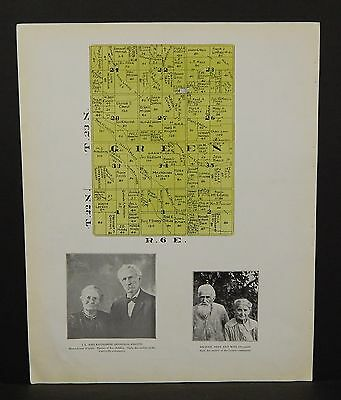 Indiana Tipton County Map Green Township 1928 Y14#10