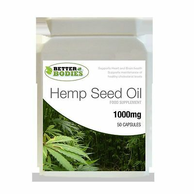 Hemp Seed Oil 1000mg Omega 3 6 9 Tocopherol 50 Capsule Bottle Better Bodies